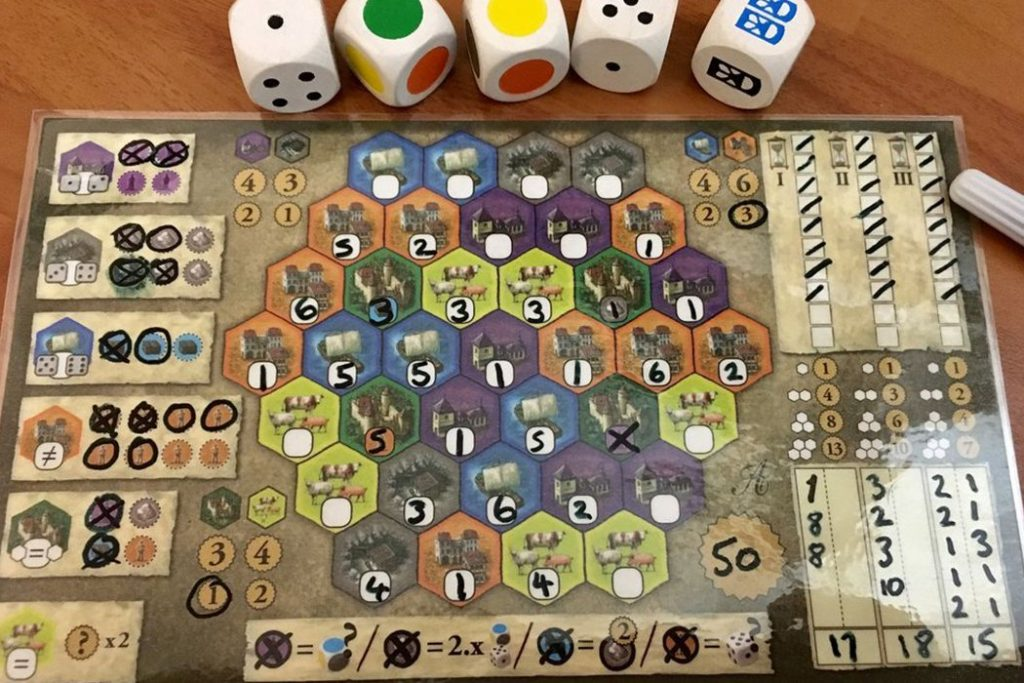 The Castles of Burgundy The Dice Game Roll-N-Wright